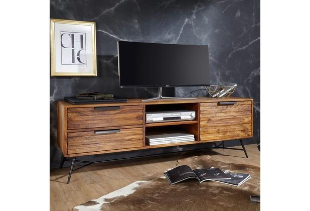 Wohnling Lowboard NISHAN 160x54x40cm Sheesham Massiv Holz, Design Hifi-Board mit Stauraum & Schubladen, braun