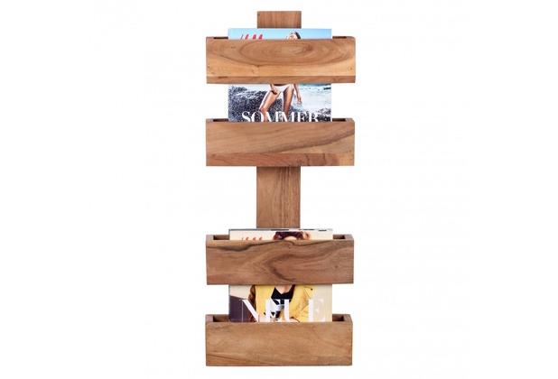 Wohnling Massivholz Akazie Wandregal Zeitungshalter 30 x 10 cm Neu