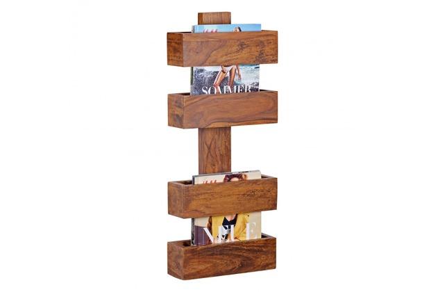 Wohnling Massivholz Sheesham Wandregal Zeitungshalter 30 x 10 cm Neu