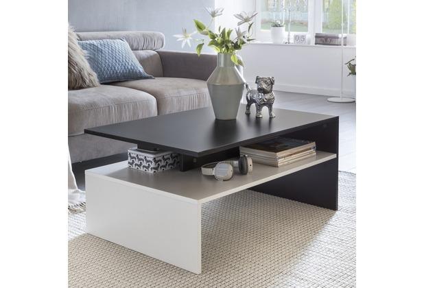 Wohnling MURPHY Wohnzimmertisch 90 x 43 x 60 cm mit Ablage Holz Schwarz / Weiß