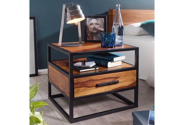 Wohnling Nachtkonsole 50 x 45 x 45 cm WL5.624 Sheesham Holz Metall Schwarz Nachttisch, braun