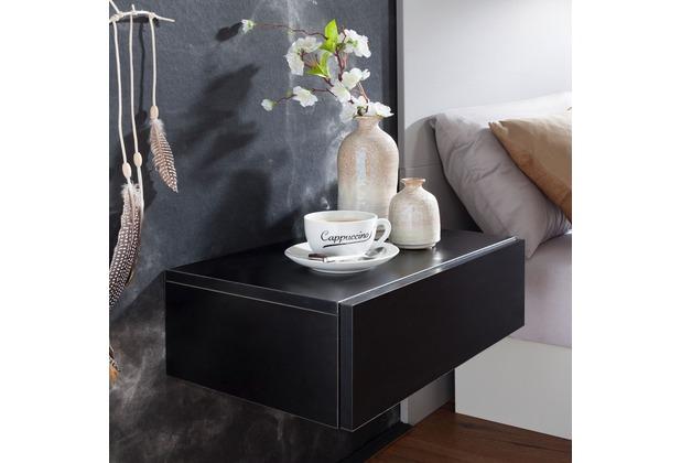 Wohnling Nachtkonsole DREAM für Wandmontage 46x15x30cm Schwarz Nachttisch Holz, Wandregal mit Schublade