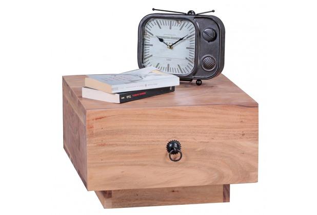 Wohnling Nachttisch 40x40 cm Massiv-Holz Akazie, Design Nacht-Kommode 25 cm hoch, mit Schublade