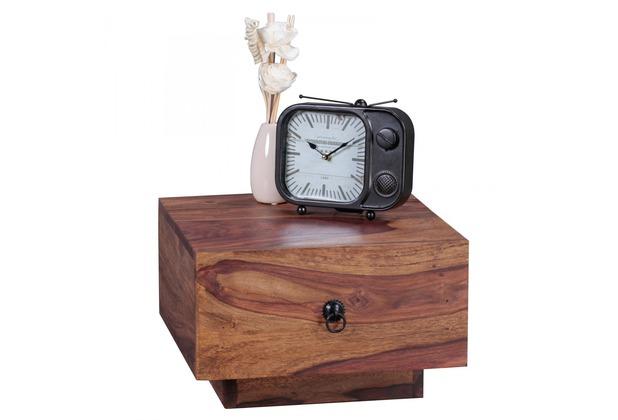 Wohnling Nachttisch 40x40 cm Massiv-Holz Sheesham, Design Nacht-Kommode 25 cm hoch, mit Schublade