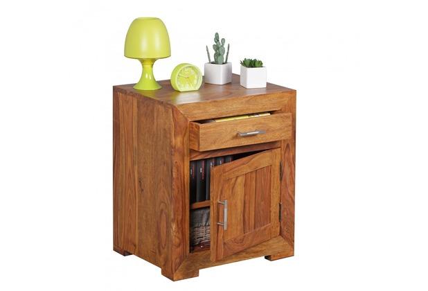 Wohnling Nachttisch Massivholz Sheesham Design Nachtkommode 60 cm mit Schublade und Tür Nachtschrank
