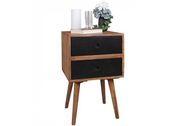 Wohnling Retro Nachtkonsole REPA 40x35x55 cm Sheesham-Holz dunkelbraun / schwarz, mit 2 Schubladen