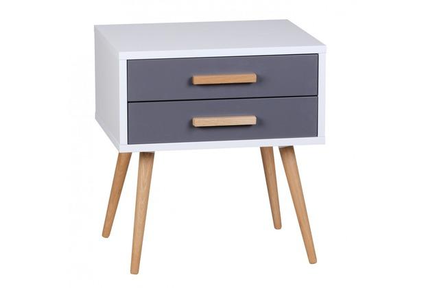 Wohnling Retro Nachttisch Weiß Grau SCANIO mit 2 Schubladen - Füße Eiche