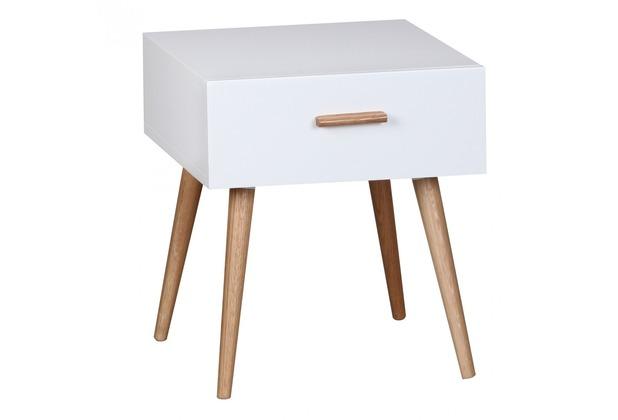 Wohnling Retro Nachttisch Weiß Matt SCANIO mit Schublade - Füße Eiche