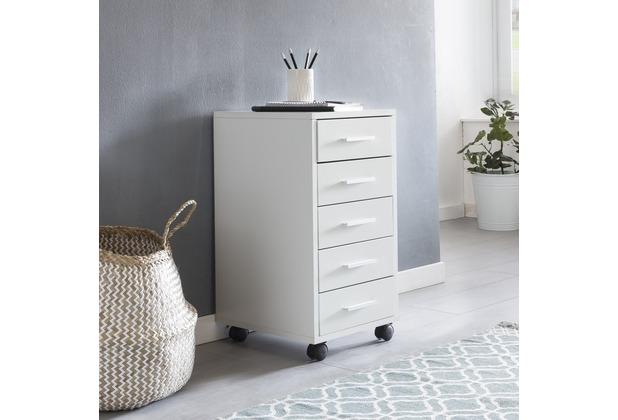 Wohnling Rollcontainer LISA Weiß 33 x 63 x 38 cm Holz Schubladenschrank Schreibtisch, Büro Schrank mit 5 Schubladen, Container Rollschrank klein Standcontainer schmal, Schreibtischcontainer mit Rollen Weiß