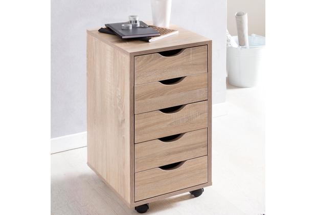 Wohnling Rollcontainer MINA 33 x 68 x 38 cm MDF-Holz 5 Schubladen sonoma, Moderner Schubladencontainer mit Rollen, Standcontainer Bürocontainer