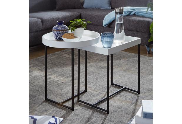 Wohnling Satztisch 2er Set Weiß WL5.980 Holz/Metall Beistelltische Modern, Design Tabletttisch 2-Teilig, Kleine Couchtische mit Ablage, Dekotische Rund und Rechteckig, Coole Tische für Wohnzimmer weiß