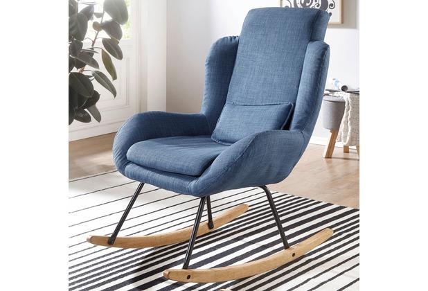 Wohnling Schaukelstuhl ROCKY Blau Design Relaxsessel 75 x 110 x 88,5 cm, Sessel Stoff / Holz, Schwingsessel mit Gestell, Polster Relaxstuhl Schaukelsessel, Moderner Schwingstuhl, Hochlehner blau