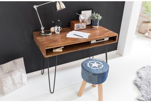 Wohnling Schreibtisch BAGLI braun 110 x 60 x 76 cm Massiv Holz Laptoptisch Sheesham Natur