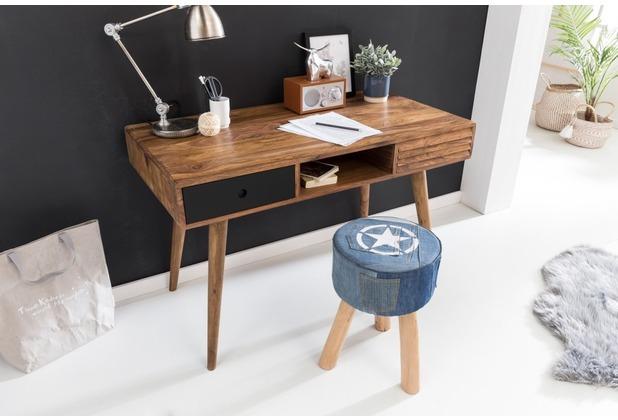 Wohnling Schreibtisch REPA 120x60x75 cm schwarz Massiv Holz Sheesham Natur, mit 2 Schubladen