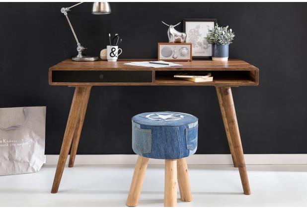 Wohnling Schreibtisch REPA schwarz 120 x 60 x 75 cm Massiv Holz Laptoptisch Sheesham Natur