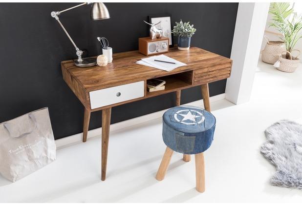 Wohnling Schreibtisch REPA weiß 120x60x75cm Massiv Holz Laptoptisch Sheesham Natur, Bürotisch PC-Tisch