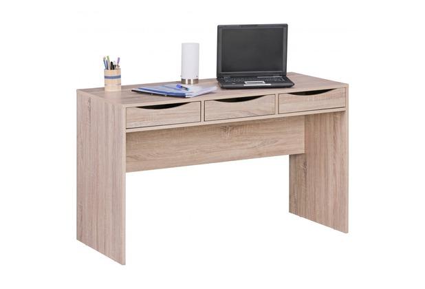 Wohnling Schreibtisch SAMO 120 cm Design Bürotisch Sonoma Eiche 3 Schubladen & Stauraum platzsparend