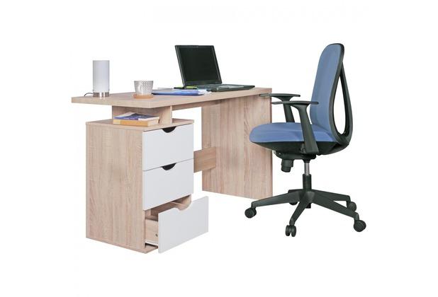 Wohnling Schreibtisch SAMO Design Bürotisch mit Schublade Sonoma/Weiß Tisch mit Fächer Ablage 120 cm modern