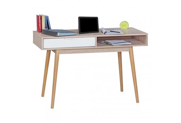 Wohnling Schreibtisch SAMO Design Computertisch mit Schublade Sonoma/Weiß Tisch Bürotisch Ablage 120 cm