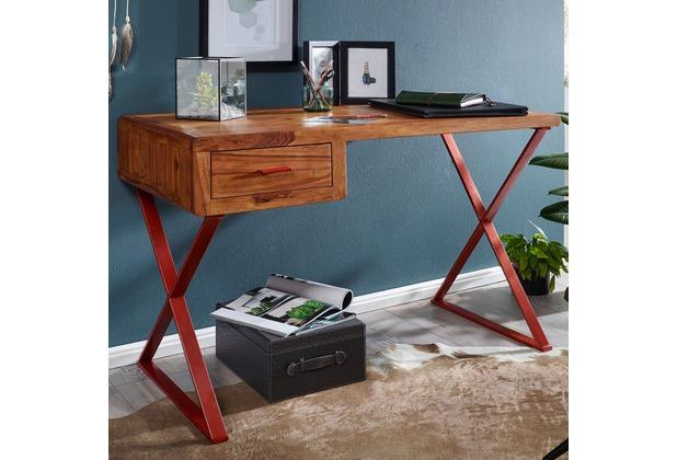 Wohnling Schreibtisch THOLAR 118x78x55 cm Sheesham Massivholz PC Tisch klein, Design Computertisch Metall Holz, Arbeitstisch Laptoptisch mit Schublade, Bürotisch Industrial, Holztisch massiv sheesham