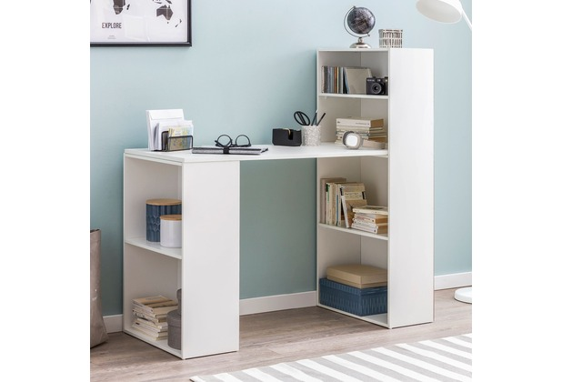 Wohnling Schreibtisch WL5.692 mit Regal 120 x 120 x 53 cm Weiß Matt Holz Modern, Schreibtischregal