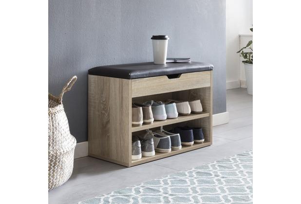 Wohnling Schuhbank SOFIA mit Sitzfläche Sonoma Garderoben-Bank Holz 60 x 40 x 30 cm Holzbank klein gepolstert
