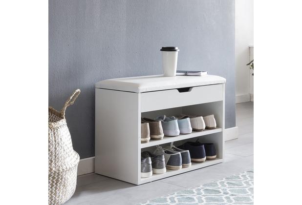 Wohnling Schuhbank SOFIA mit Sitzfläche Weiß Garderoben-Bank Holz 60 x 40 x 30 cm, Holzbank klein gepolstert