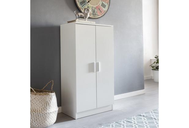 Wohnling Schuhschrank MARTIN mit 2 Türen Weiß 55x108x35 cm Schuhregal Holz geschlossen, Design Dielenschrank
