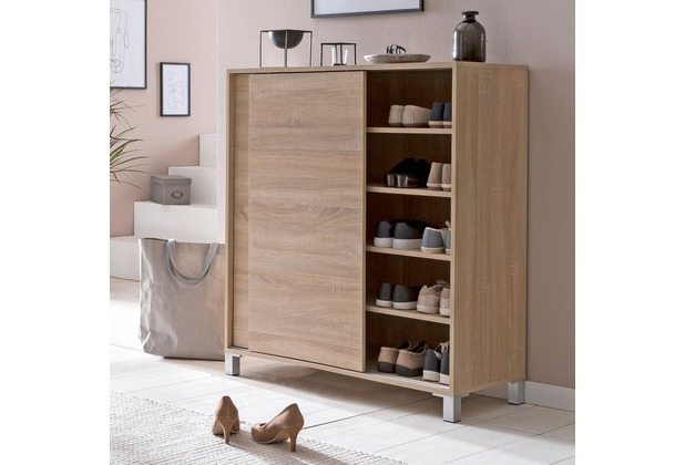 Wohnling Schuhschrank WL5.713 Holz Sonoma 100x108x37,5cm Ablage Hoch, Design Schuhständer Groß 20 Paar Schuhe