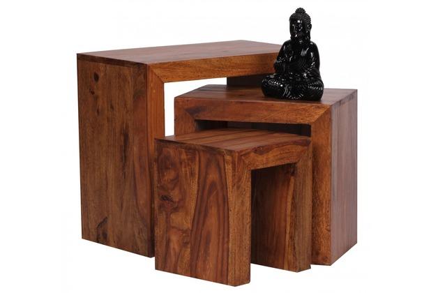 Wohnling Sheesham 3-teiliger Satztisch Massiv Beistelltisch Massivholz