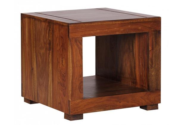 Wohnling Sheesham Couchtisch Massiv 50 x 50 cm Massivholz