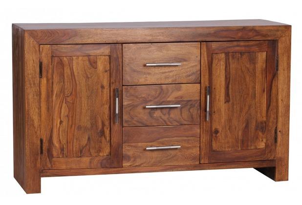 Wohnling Sheesham Massiv Sideboard 118,5 x 40 cm montiert - Massivholz