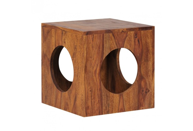 Wohnling Sheesham Massivholz Beistelltisch 35 x 35 cm Cube
