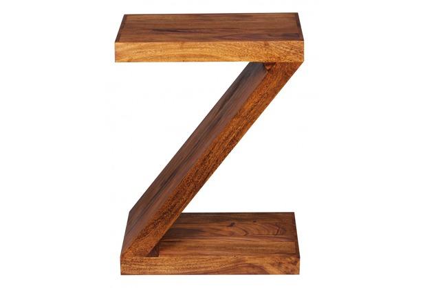 """Wohnling Sheesham Massivholz Beistelltisch \""""\""""Z\""""\"""" Cube 44 x 30 x 59 cm mit Ablage"""