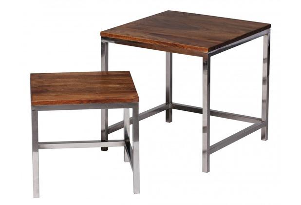 Wohnling Sheesham Satztisch Massiv 45 x 45 & 35 x 35 cm Couchtisch Massivholz