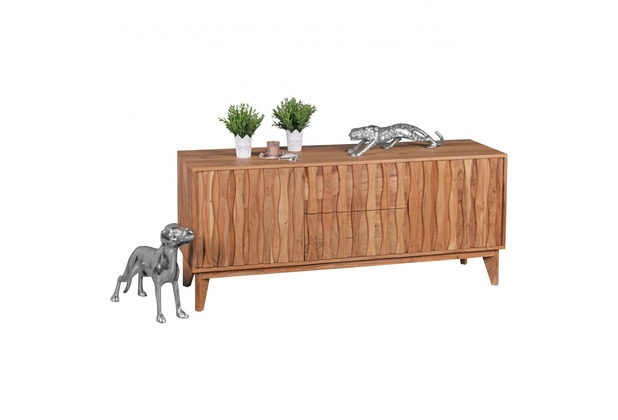 Wohnling Sideboard BELUR aus Massivholz Akazie | Kommode 160 cm mit 2 Schubladen 2 Türen | Design Anrichte Landhausstil natur