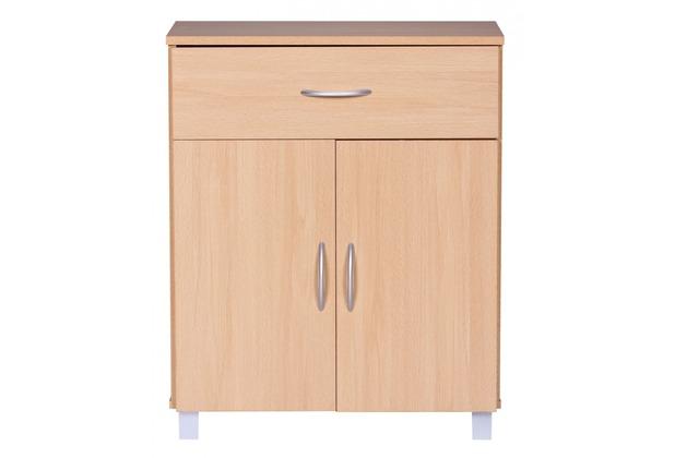 Wohnling Sideboard Buche 60 x 75 cm mit 2 Türen & 1 Schublade