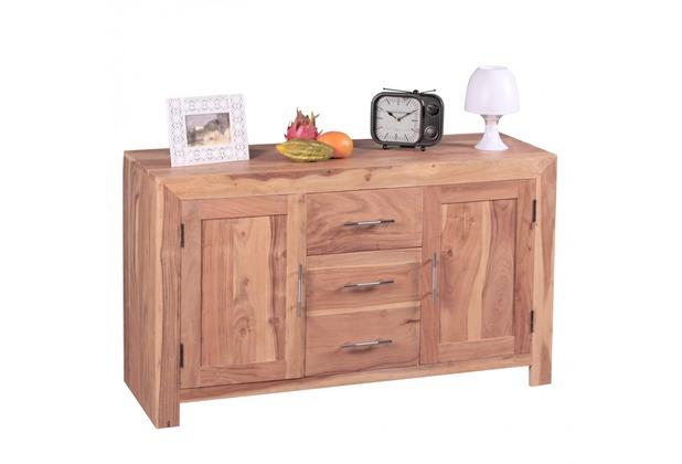 Wohnling Sideboard Massivholz Akazie Kommode 118cm Mit 3 Schubladen