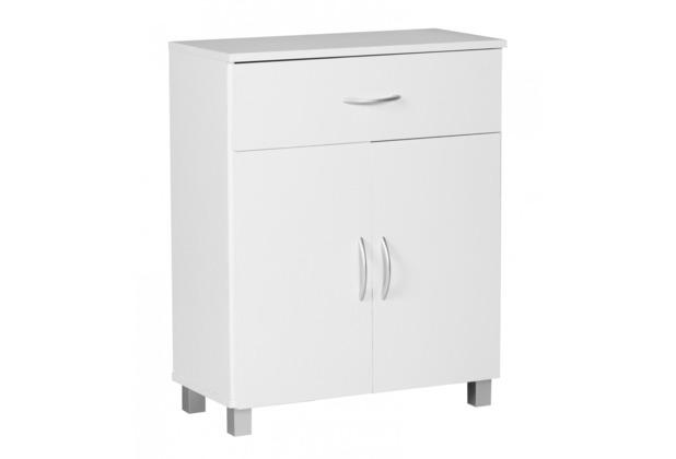 Wohnling Sideboard Weiss 60 x 75 cm mit 2 Türen & 1 Schublade