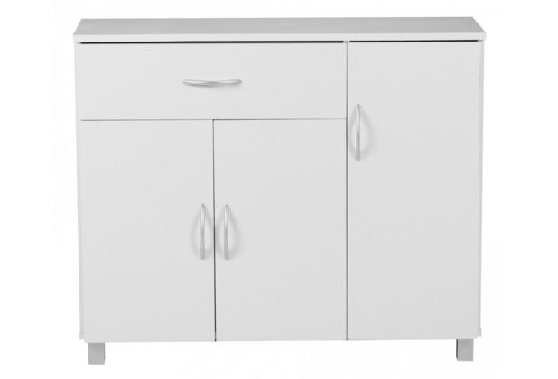 Wohnling Sideboard Weiss 90 x 75 cm mit 3 Türen & 1 Schublade
