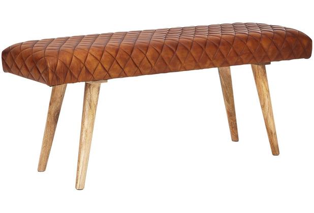 Wohnling Sitzbank 115x53x38 cm Echtleder / Massivholz, braun, 2er Polsterbank