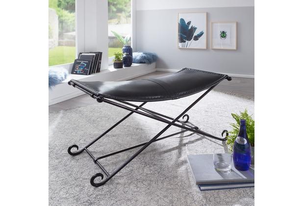 wohnling sitzbank umah mit ziegenleder 93x49x47cm lederbank schwarz mit eisengestell bank. Black Bedroom Furniture Sets. Home Design Ideas