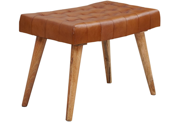 Wohnling Sitzhocker 67x47x39 cm Mango Massivholz / Echtleder Chesterfield-Design, Lederhocker Braun