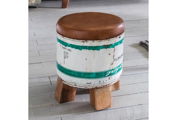 Wohnling Sitzhocker Indra 28x345x28cm Metall Leder Holz Ottomane Braun Weiß Design Hocker Klein Polster Fußhocker Shabby Vintage Dekohocker