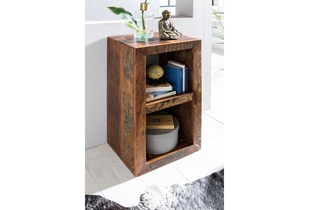 Wohnling Standregal KALKUTTA 45 x 35 x 90 cm Bücherregal Mango Massiv-Holz Design Regal 2 Böden Shabby Recycling Bootsholz