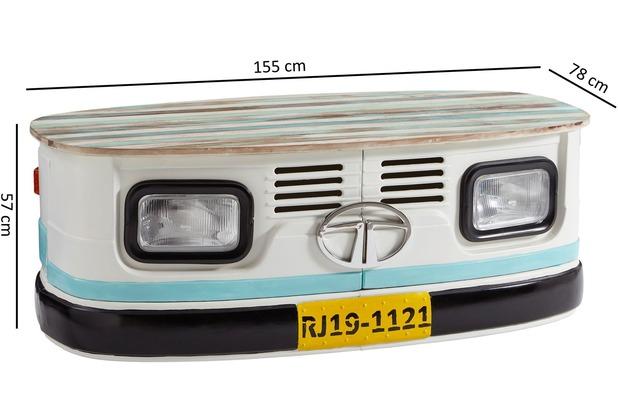 Wohnling Truck-Tisch LINA 155x57x78cm Massivholz/Metall Shabby Chic, Design, mit Rollen mehrfarbig