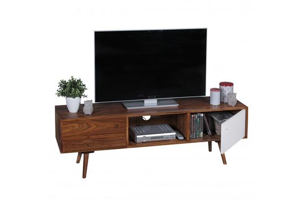Wohnling TV Lowboard REPA 140 cm Massiv-Holz Sheesham Landhaus 2 Türen & Fach | HiFi Regal braun / weiß 4 Füße | Fernseher Kommode Vintage