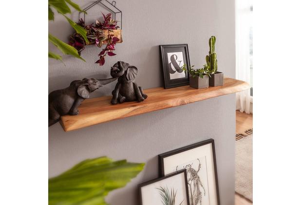 Wohnling Wandregal mit Baumkante Akazie Massivholz 80 cm Unbehandelt, Design Schweberegal Wandboard