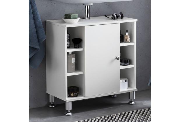 Wohnling Waschbeckenunterschrank 60 x 64 x 32 cm Weiß Badschrank mit Tür, Holz Unterschrank