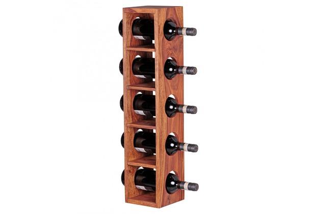 Wohnling Weinregal Massiv-Holz Sheesham Flaschenregal Wandmontage für 5 Flaschen, modern mit Ablage 70 cm
